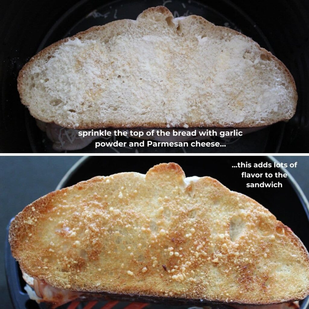 two collage images of sandwiches being made in the air fryer with descriptive text.
