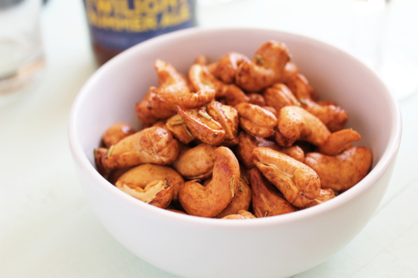 Rosemary Cashews that have been cooked in the air fryer.