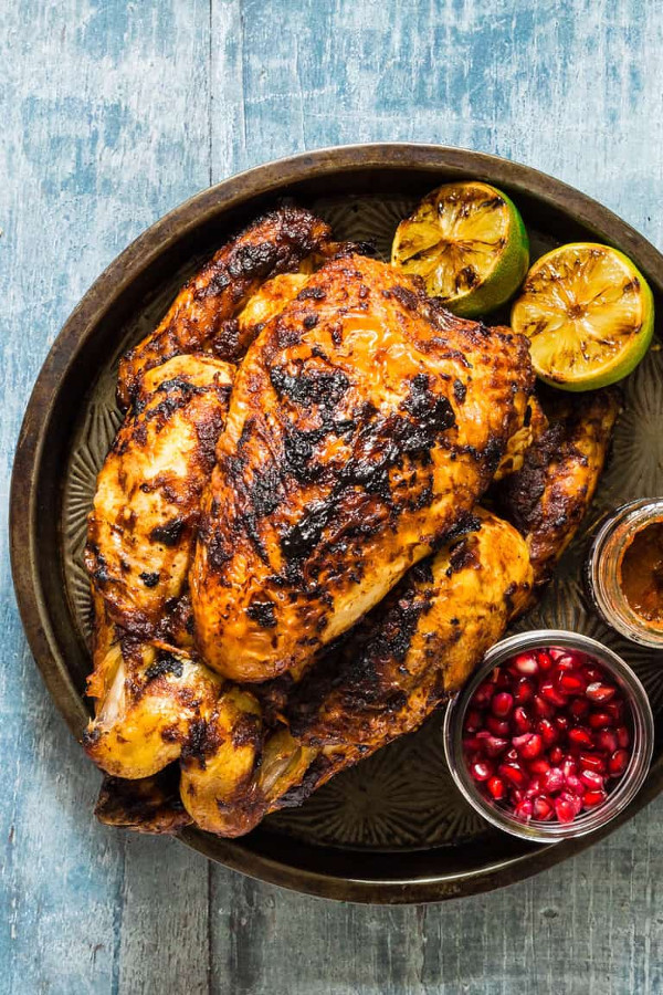 Grilled Pomegranate Harissa Chicken {Gluten-Free} from Recipes from a Pantry