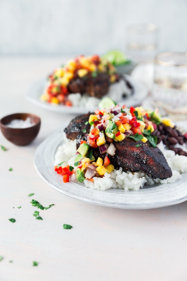 Jerk Chicken and Mango Avocado Salsa from Powered By Mom