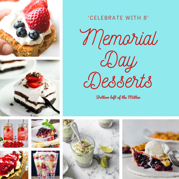 A round up of dessert recipes for Memorial Day