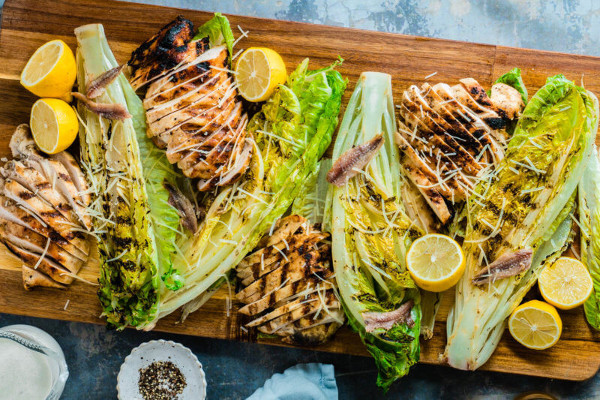 Romaine Hearts Grilled Chicken Caesar Salad from Eating Richly