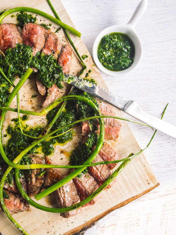 Grilled Steak with Salsa Verde from Bacon is Magic