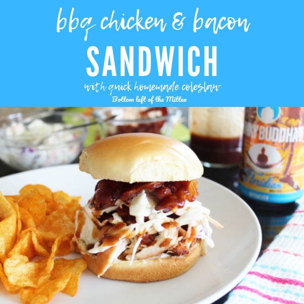 BBQ Chicken and Bacon Sandwiches and a craft beer.