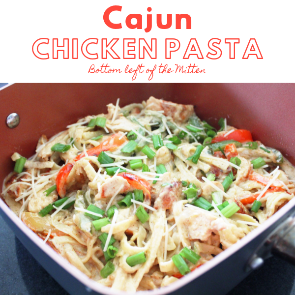 An overhead shot of Cajun Chicken Pasta in a pan ready to serve