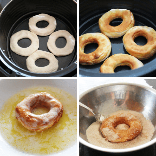 Step by step instructions for cooking and coating donuts made in the air fryer.
