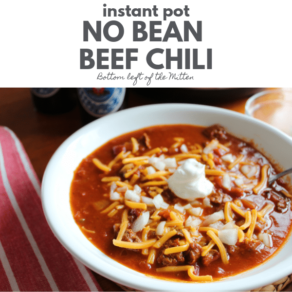 Instant Pot No Bean Beef Chili ready to eat.