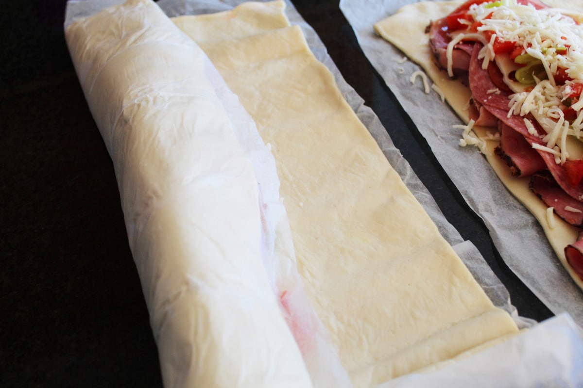 How to make italian stromboli and how to roll it up easily using pre-made pizza crust.