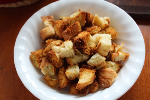 Homemade croutons made in the air fryer.