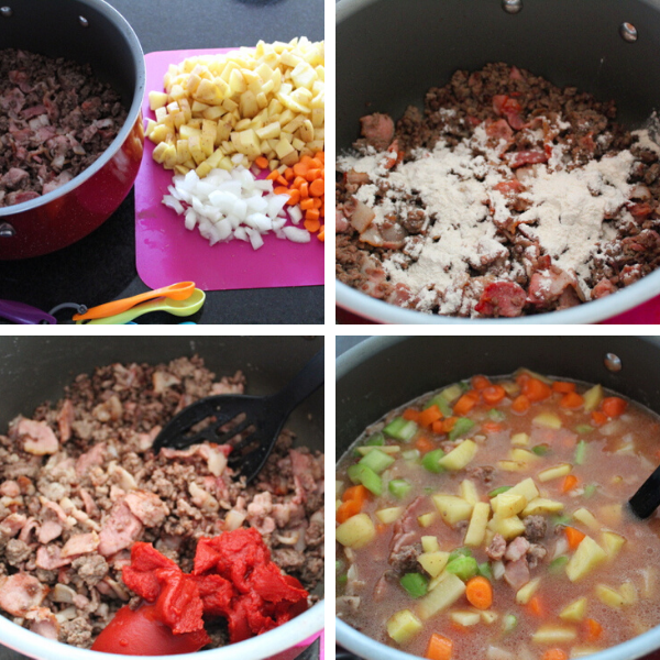 Steps for making soup made of ground beef and bacon.