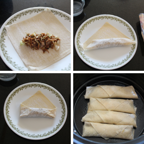 Steps for how to make egg rolls in the air fryer.