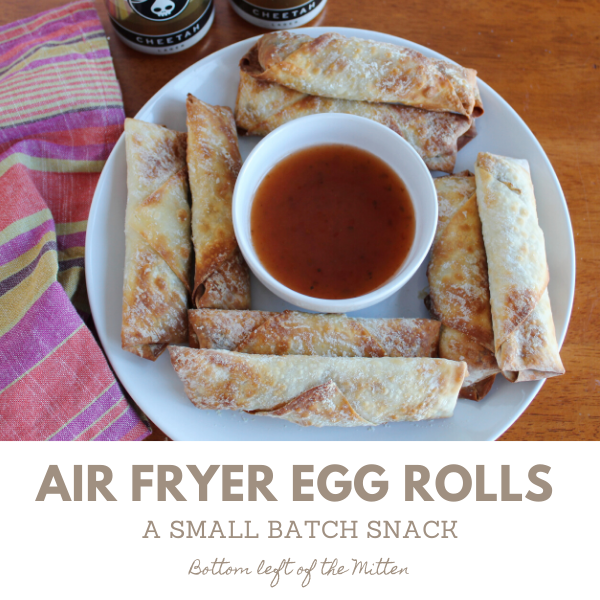 Egg Rolls on a plate with dipping sauce and craft beer.
