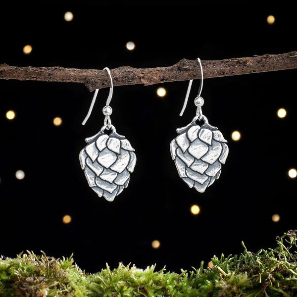 Sterling Silver Hop Flower Earrings from LittleDevilDesigns