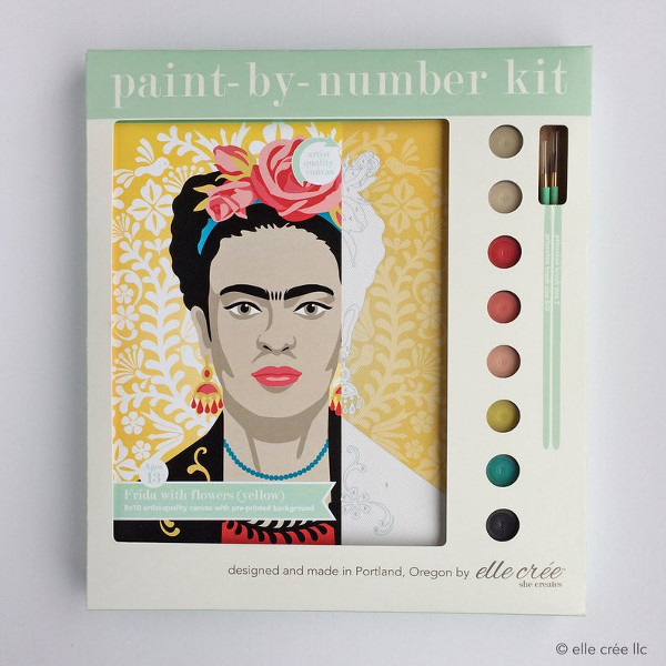 FRIDA with flowers diy paint by number kit from ellecreepdx