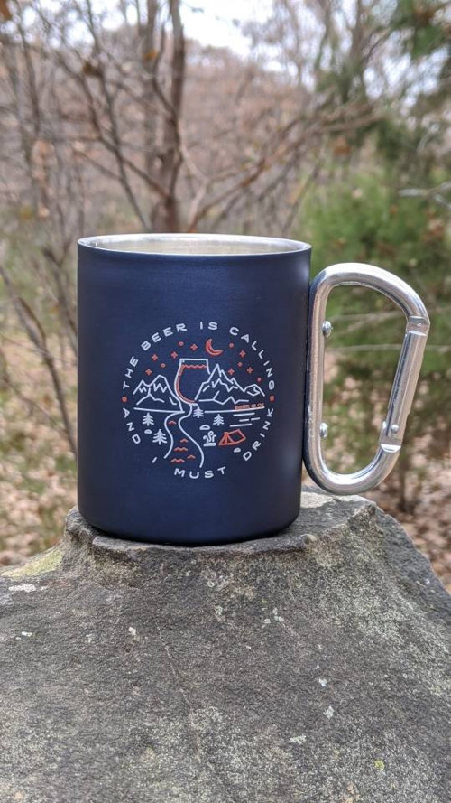 The Beer is Calling and I Must Drink Stainless Steel Carabiner Mug from BeerIsOK National Beer Day