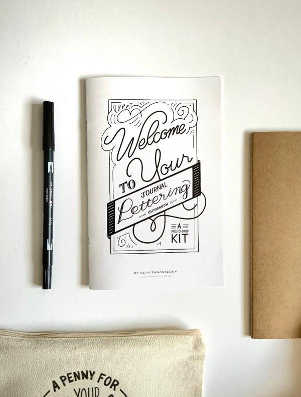 Beginner's Lettering Workbook - Project Based Lettering Kit from HappyThingsDesignCo