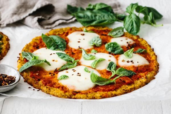 side shot of Cauliflower Pizza