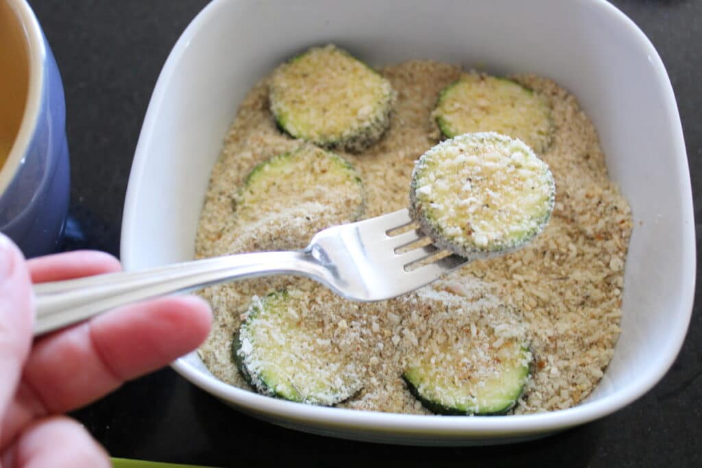 close up of breaded zucchini