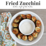 overhead shot of fried zucchini with image text