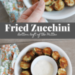 collage image of fried zucchini with image text