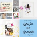 collage of gifts for graduates with image text