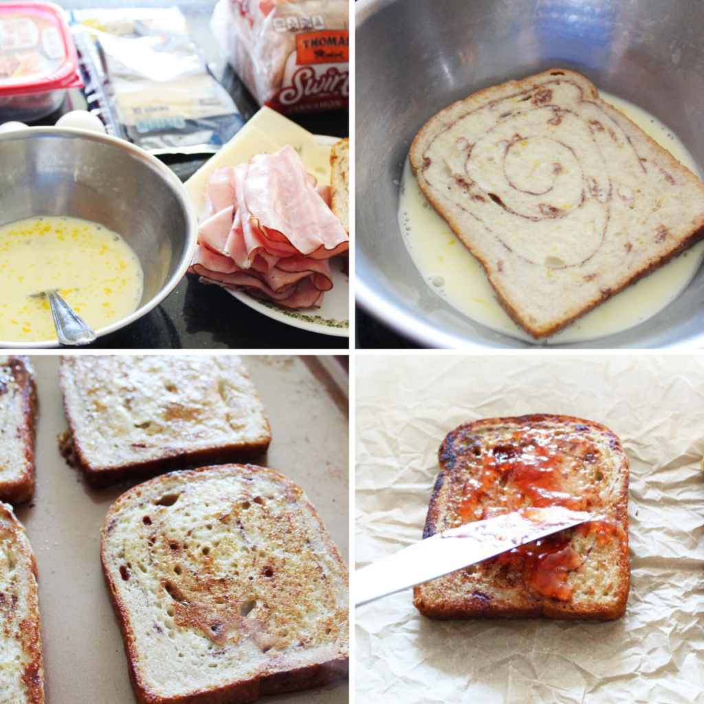 collage image of step for making Monte Cristo breakfast sandwiches
