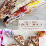 collage image of Monte Cristo breakfast sandwich with image text
