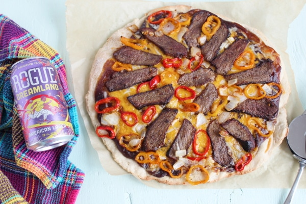 overhead shot of Pepper Steak Pizza