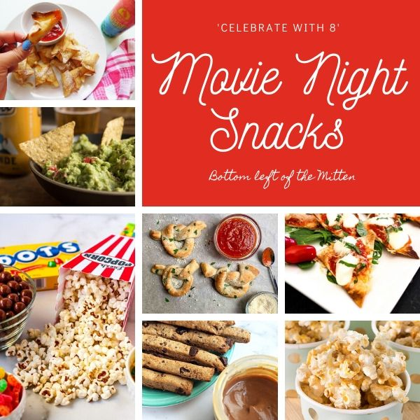 collage of images of snacks for movie night with image text