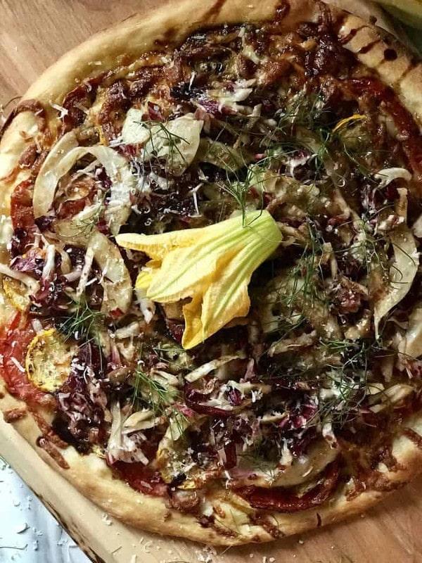 overhead shot of Salad Pizza