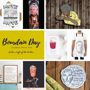 collage of images for bourdain day with image text