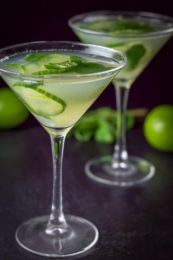 side shot of a cucumber mint martini