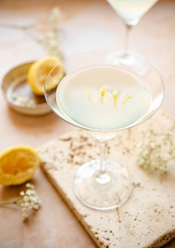 overhead shot of a Limoncello Martini