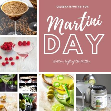 collage of images of martini recipes with image text