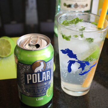 side shot of a seltzer mojito