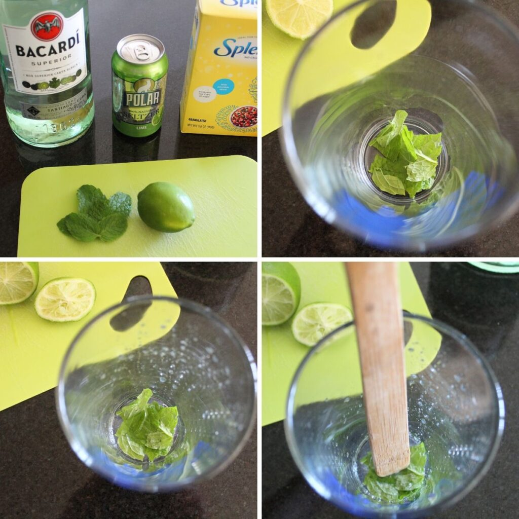 collage of steps for making a seltzer mojito