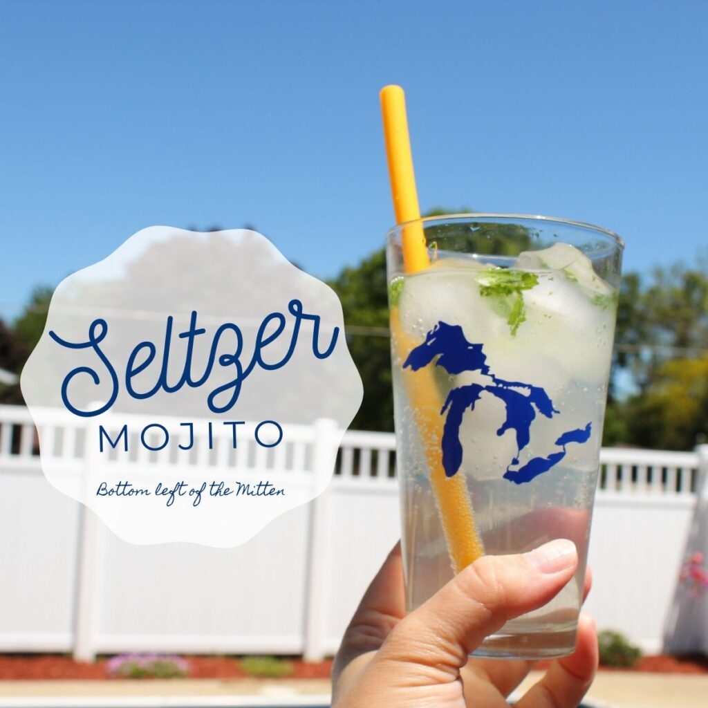 collage of a seltzer mojito with image text