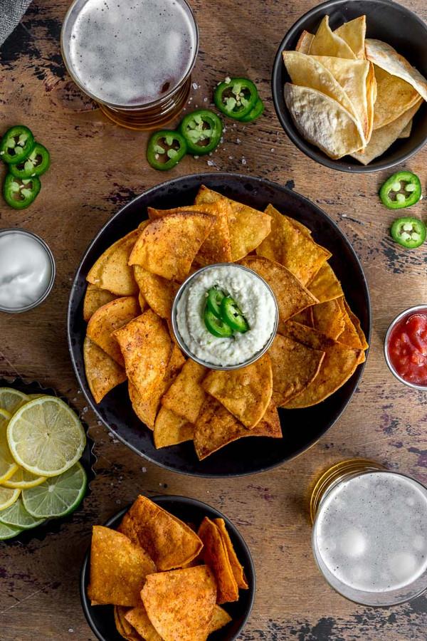 overhead styles shot of air fryer homemade tortilla chips