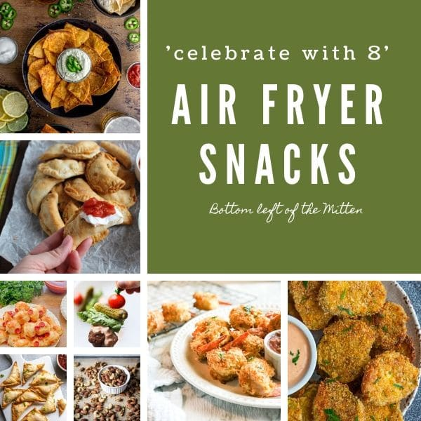 collage image of air fryer snacks with image text