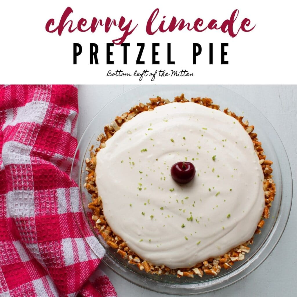 overhead shot of cherry limeade pretzel pie with image text