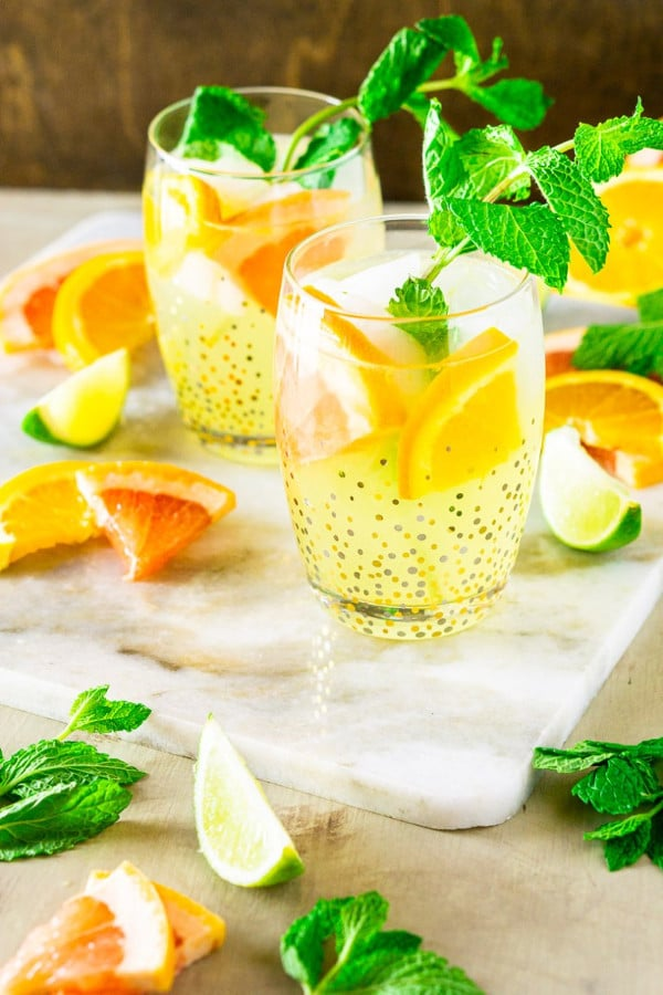 styled shot of triple citrus tequila smash