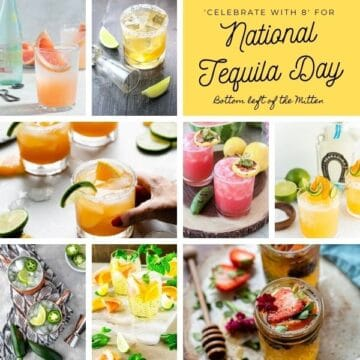 collage image of tequila recipes with image text