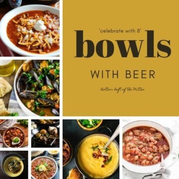 collage image of bowls with beer with image text