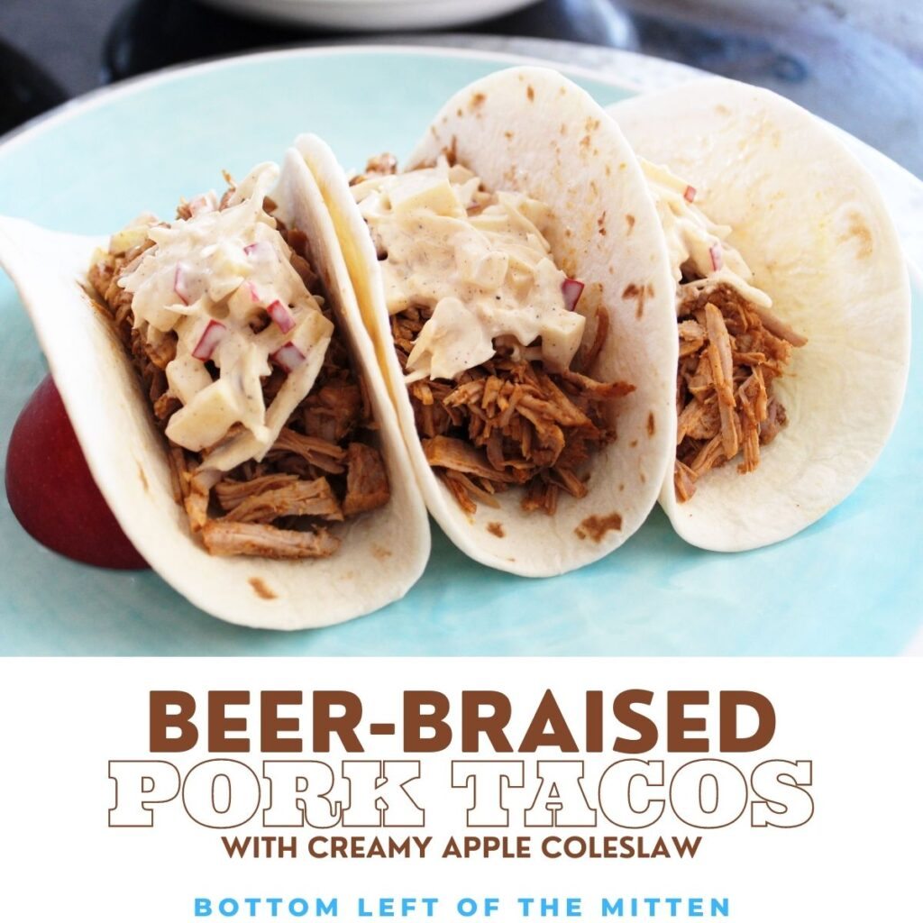 beer-braised tacos with creamy apple coleslaw on a plate with descriptive text overlay.