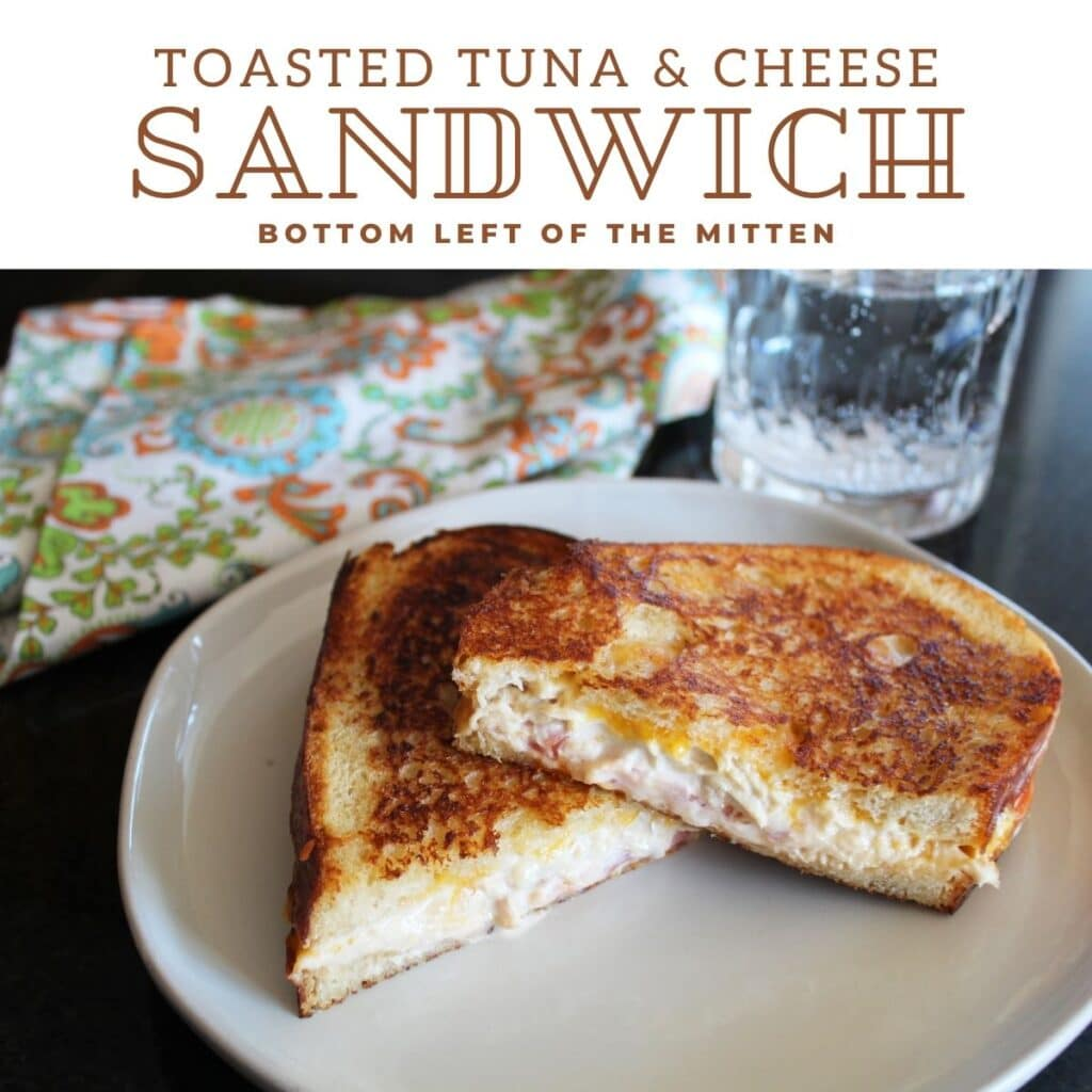 collage of toasted tuna & cheese sandwich with descriptive text