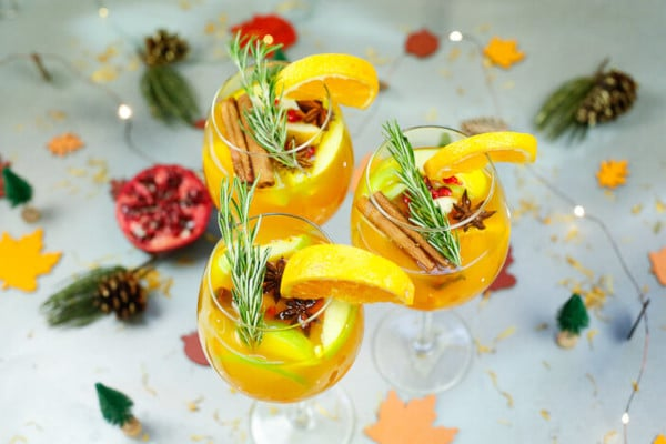 staged image of a PEAR AND APPLE CIDER SANGRIA