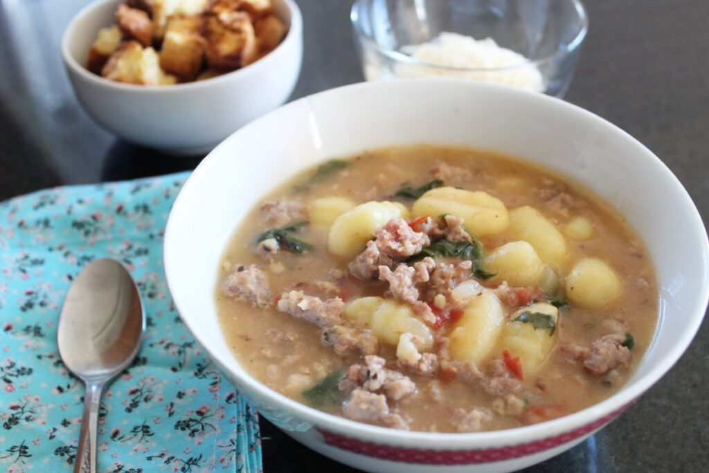 Gnocchi, Sausage & Spinach Soup | Bottom Left of the Mitten