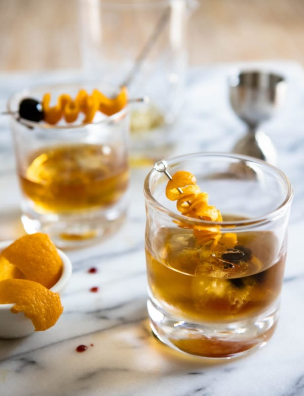 staged image of a Maple Whiskey Sazerac Cocktail