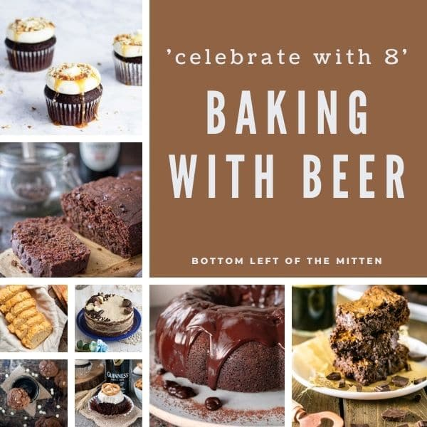 collage image of recipe for baking with beer with descriptive texr