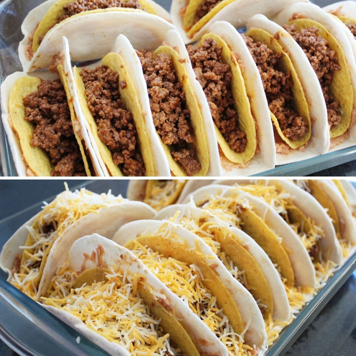 collage image of double deluxe tacos in a baking dish